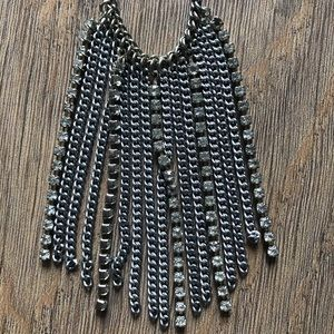 Fringe silver and sparkle necklace